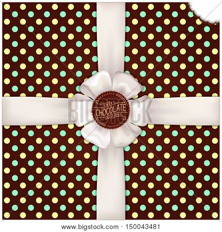 Chocolate vector background with satin ribbon and bow. polka dot Sweet delicious template for web and print
