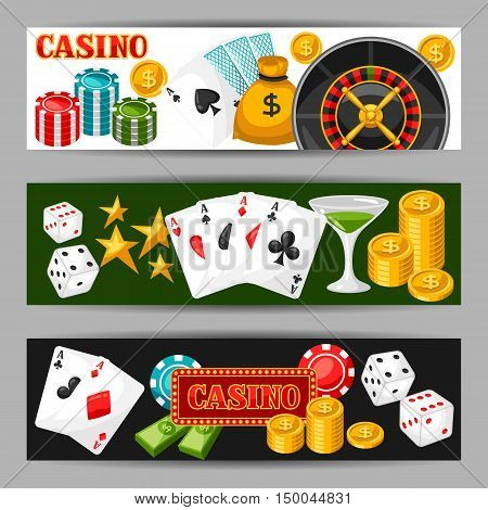 Casino gambling banners or flyers with game objects.