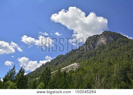 The alpine landscape near Lago del Predil on a mid-summer's day in Friuli Venezia Giulia north east Italy.