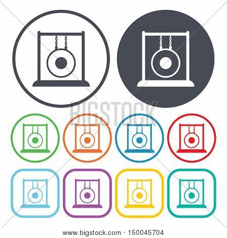 vector illustration of  gong icon in simple style isolated on background. Stock vector symbol.