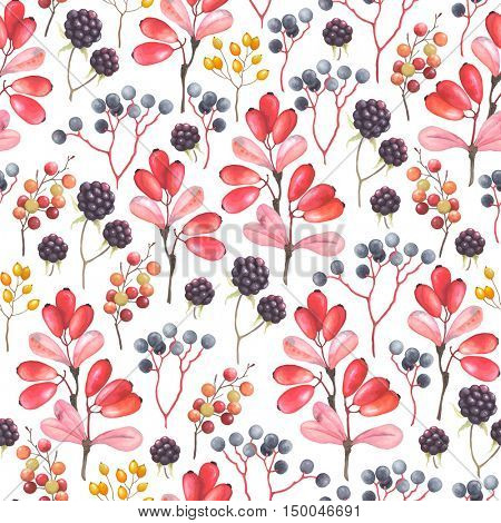 Abstraction seamless pattern with blackberry, barberry and branches plants. Vector illustration in vintage style on white background.