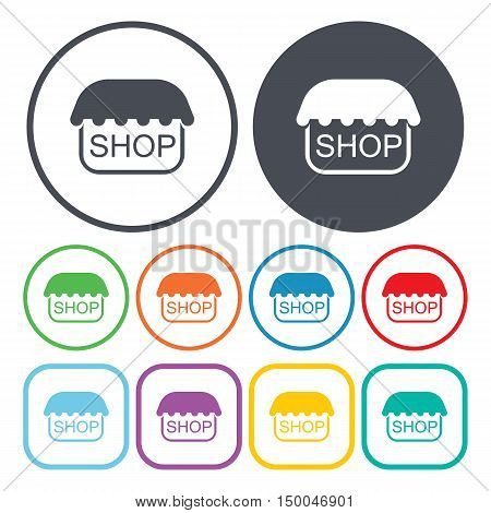 vector illustration of shop icon in simple style isolated on background. Stock vector symbol.