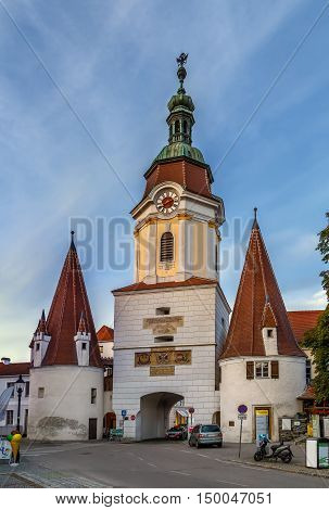 Steiner Tor is a-preserved gate originally built in the late 15th century but refashioned in the Baroque style in the city of Krems an der Donau in the Wachau valley of Austria.