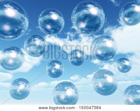 Rising water balls - digital artwork.3D rendering