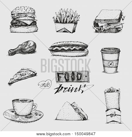 Set with fast food illustration. Sketch vector illustration. Fast food restaurant, fast food menu. Hamburger, hot dog, sandwich, snacks, waffles, pizza, french fries ice cream donuts