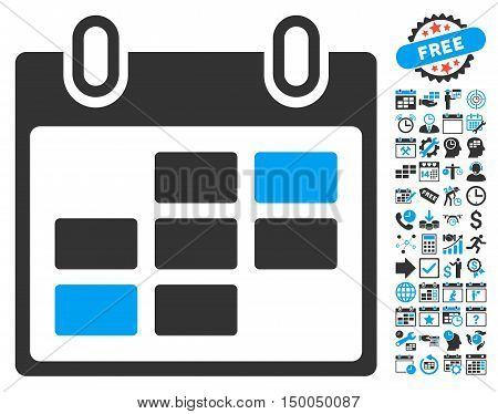 Calendar Days pictograph with bonus calendar and time management clip art. Vector illustration style is flat iconic bicolor symbols, blue and gray colors, white background.