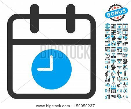 Calendar Page and Time pictograph with bonus calendar and time management icon set. Vector illustration style is flat iconic bicolor symbols, blue and gray colors, white background.
