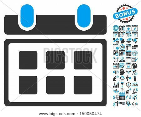 Calendar pictograph with bonus calendar and time management pictures. Vector illustration style is flat iconic bicolor symbols, blue and gray colors, white background.