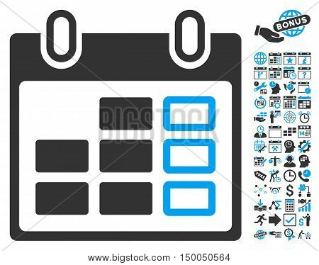 Calendar Week icon with bonus calendar and time management pictures. Vector illustration style is flat iconic bicolor symbols, blue and gray colors, white background.