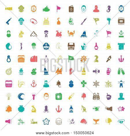sea 100 icons universal set for web and mobile