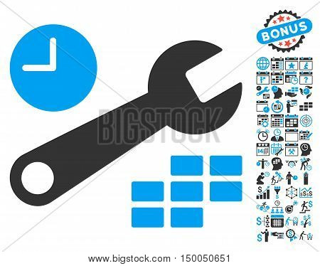 Date and Time Configuration icon with bonus calendar and time management icon set. Vector illustration style is flat iconic bicolor symbols, blue and gray colors, white background.