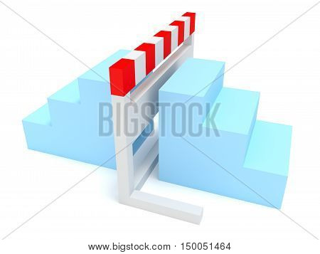 Hurdle With Light Blue Stairs On Both Sides 3d illustration