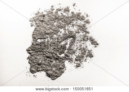 Mythical fantasy child head with pointy ear illustration in dust ash
