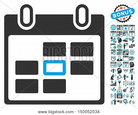 Selected Calendar Day icon with bonus calendar and time management pictures. Vector illustration style is flat iconic bicolor symbols, blue and gray colors, white background.