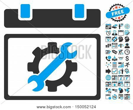Service Calendar Page icon with bonus calendar and time management graphic icons. Vector illustration style is flat iconic bicolor symbols, blue and gray colors, white background.