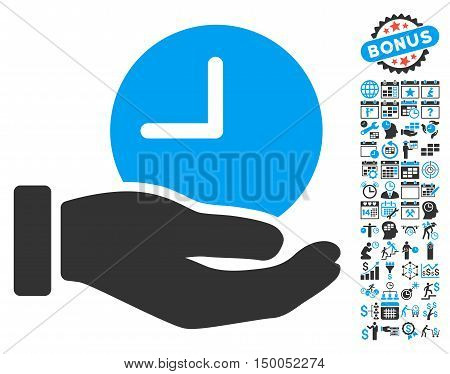 Time Service Hand pictograph with bonus calendar and time management clip art. Vector illustration style is flat iconic bicolor symbols, blue and gray colors, white background.