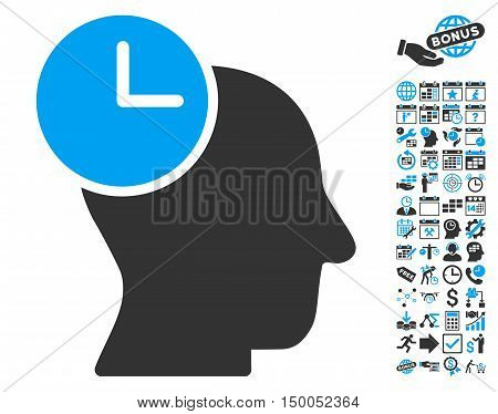 Time Thinking icon with bonus calendar and time management design elements. Vector illustration style is flat iconic bicolor symbols, blue and gray colors, white background.