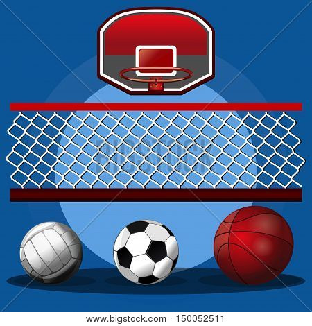 Set of sport balls. Volleyball ball basketball ball soccer ball volleyball net and basketball hoop. Sport design. Vector realistic illustration for sports clubs and gyms
