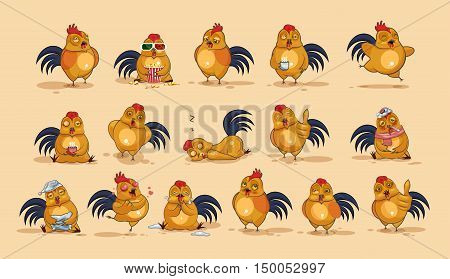 Set Vector Stock Illustrations isolated Emoji character cartoon Cock stickers emoticons with different emotions for site, info graphics, video, animation, websites, e-mails, newsletters, reports, comics