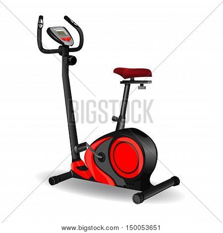 Exercise bike icon isolated on white background. Sport equipment. Fitness design. Vector realistic illustration stationary bike for sports clubs and gyms