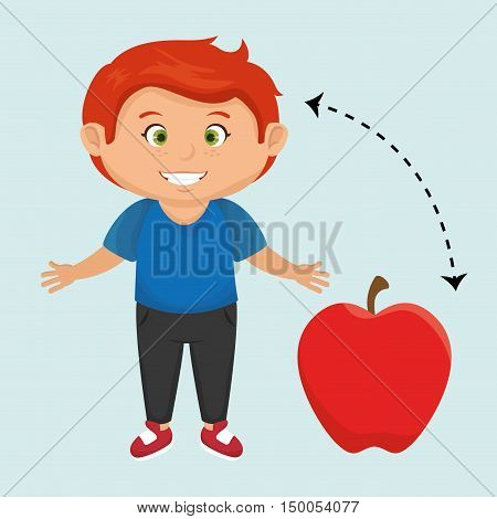 boy cartoon fruit apple red vector illustratin eps 10