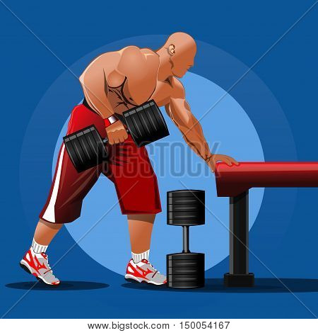 Muscle man bodybuilder with dumbbell. Muscular man training with dumbbells. Sports style logo. Vector illustration