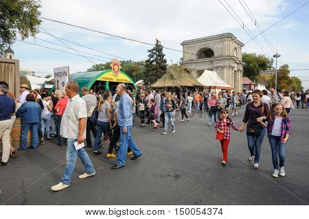 Chisinau, Republic of Moldova - October 1, 2016: Celebration of National Wine Day at the Great National Assembly Square of the Moldovan capital