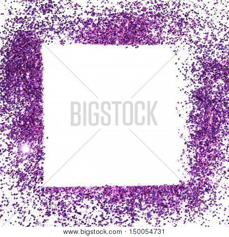 Frame of purple glitter sparkle on white background, can be used for greeting or invitation cards