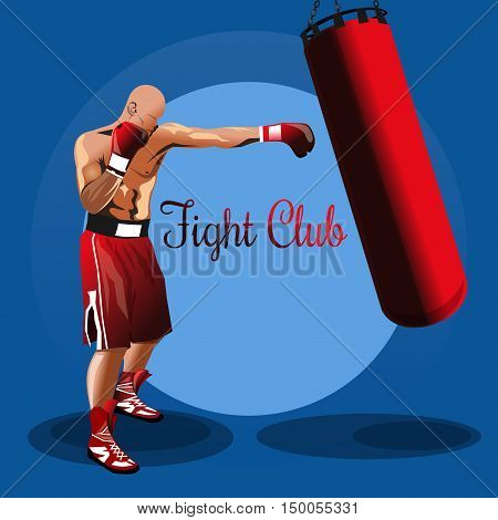 Fight club logo. Boxer. Training with punching bag. Colored vector illustration for sport fight club. Boxing emblem, label, badge poster
