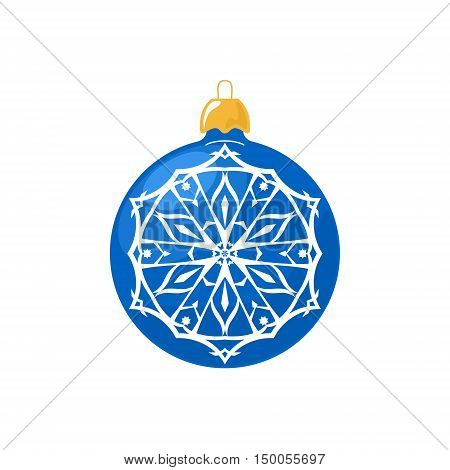 Blue Ball with Snowflake Isolated on White Background , Christmas Tree Decoration, Merry Christmas and Happy New Year,  Vector Illustration