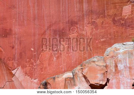 Native American petroglyphs in Capitol Reef national park, Utah