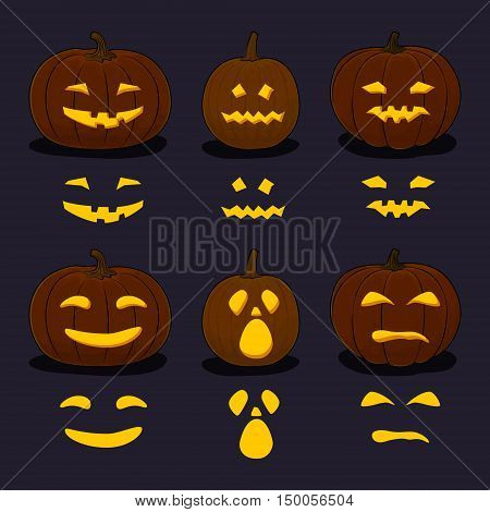 Set of Carved Scary Halloween Pumpkins on Dark Background, a Jack-o-Lantern Pumpkin, Carving Stencil Templates, Vector Illustration
