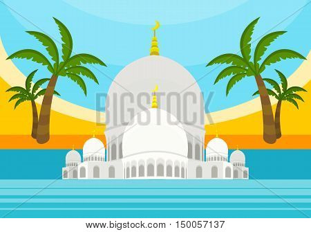 United Arab Emirates tourism poster design with attractions. Emirates landmark with flag. Emirates travel poster design in flat. Travel composition with Sheikh Zayed Mosque, palm trees, beach and sea