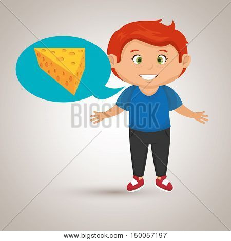 boy cartoon cheese sliced food vector illustration eps 10