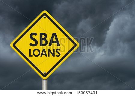 SBA Loans yellow warning highway road sign Yellow warning highway sign with words SBA Loans with stormy sky background 3D Illustration