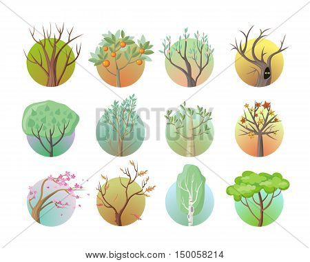 Set of tree round icons. Tree with green leaves. Maple, oak, birch, sakura, willow, poplar vector tree round icon. Tree forest, leaf tree isolated, falling autumn leaves, plant eco branch tree.