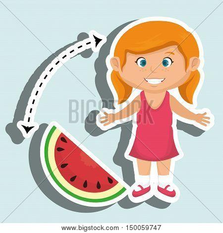 girl cartoon sliced watermelon vector illustration eps 10