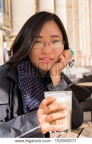 Beautiful Asian Girl Portrait Cafe Drinking Coffee Customer Restaurant Latte Macchiato Glass Outside