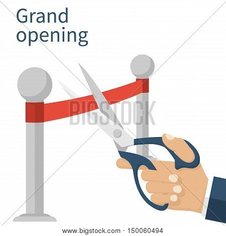 Grand opening concept. Businessman holding a pair of scissors in hand cuts the red tape. Vector illustration flat design. Isolated on white background. Ceremony celebration presentation and event.