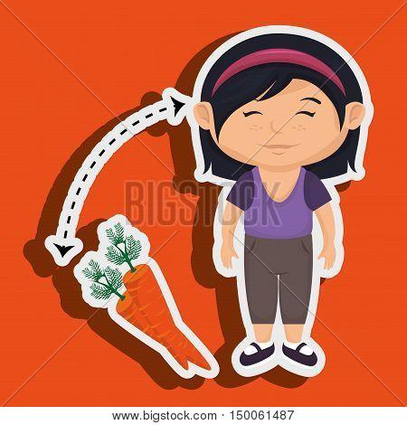 girl cartoon carrot vegetable organic vector illustration eps 10