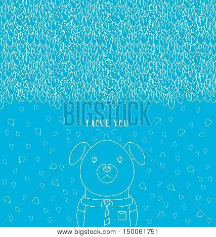 Abstract hand-drawn pattern. I love you lettering. Funny dog wearing a tie and a shirt. Vector illustration