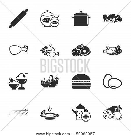 kitchen, food  16 icons universal set for web and mobile flat