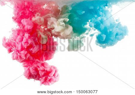 Color Ink in water, photographed in motion. Swirling paint drop watercolor. Cloud isolated on white background.