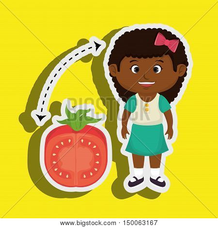 girl cartoon tomato vegetable health vector illustration eps 10