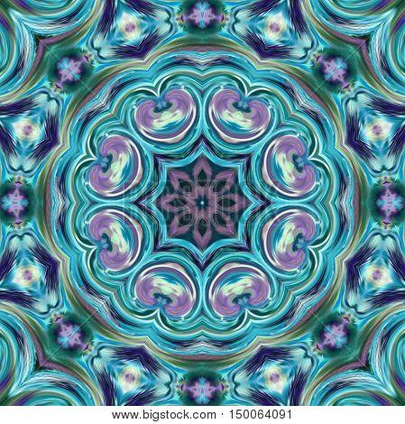 Glass vitrage mosaic kaleidoscopic seamless blue pattern background
