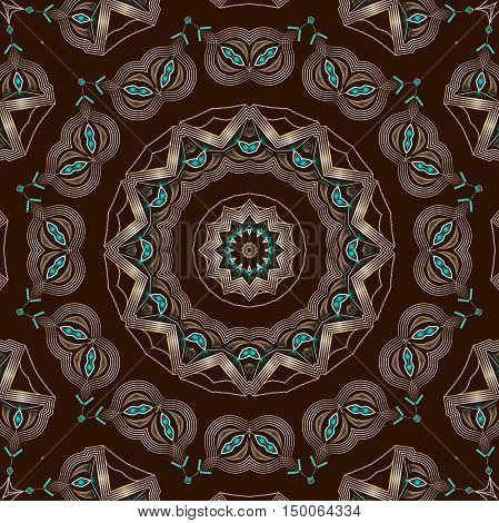 Folk ornamental textile seamless kaleidoscopic pattern elegant print background