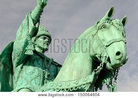 Orel Russia - October 03 2016: First in Russia Ivan the Terrible monument on clear blue sky closeup