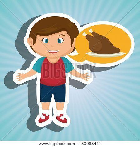 boy cartoon chicken food vector illustration eps 10