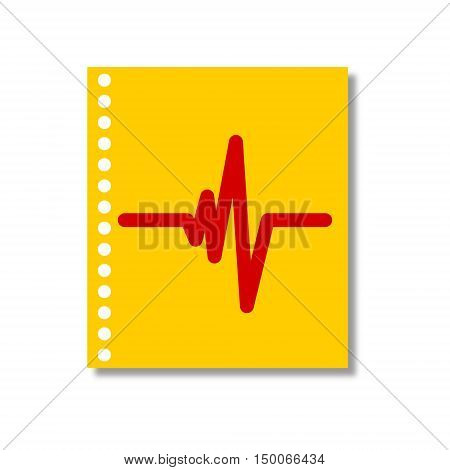 Heart beat on note book, vector on white background
