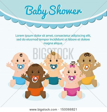 Baby boy and girl cartoon. Baby shower and childhood theme. Isolated and colorful design. Vector illustration